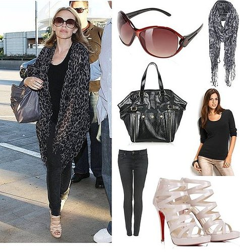 Photo of Kylie Minogue Leaving LAX Airport in Leopard Print Scarf and Platform Heels with YSL Bag