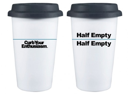 Curb Your Enthusiasm 'Half Empty' Reusable Coffee Shop Mug ($20)