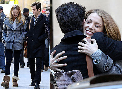 Blake Lively, Penn Badgley, Chace Crawford and Ed Westwick on Gossip Girl Set