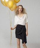 Embellished Scoopneck Tee, $158Draped Silk Skirt, $198