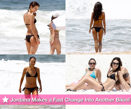 Pictures of Jordana Brewster Wearing a Black Bikini on the Beach in Brazil