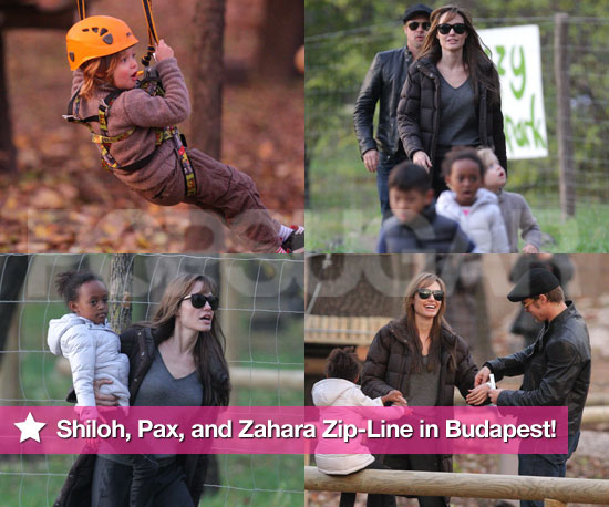 Pics: Shiloh, Pax, and Zahara Zip-Line in Budapest With Brad and Angelina!
