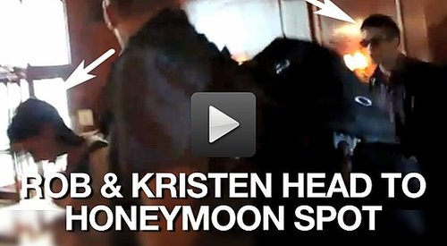 Video of Robert Pattinson and Kristen Stewart Traveling to the Honeymoon Home in Brazil