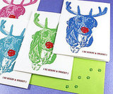 I just adore the Andy Warhol-esque quality of these technicolor Rudolph Be Merry and Bright Holiday Cards ($12 for four) — so fun!