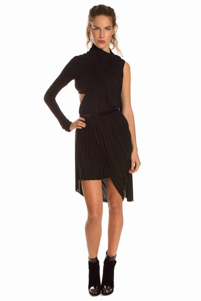 """This dress is so sexy yet classy at the same time. I absolutely love the unique silhouette. I would go bare legged with a pointy stiletto."" Alexander Wang Draped Dress with Turtleneck and Cape ($975)"