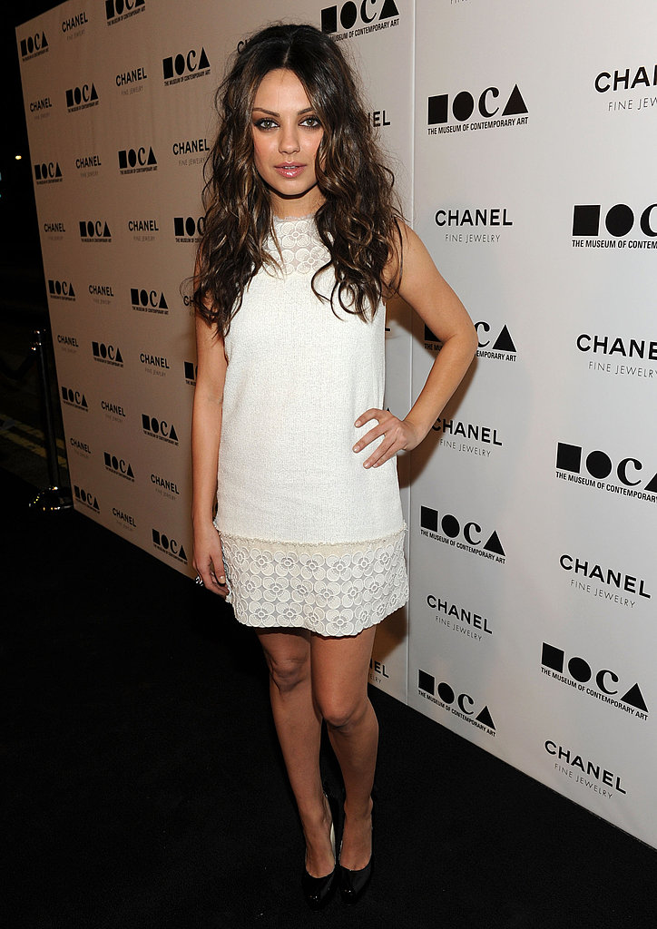 Mila Kunis dazzled in a white Chanel mini sheath.