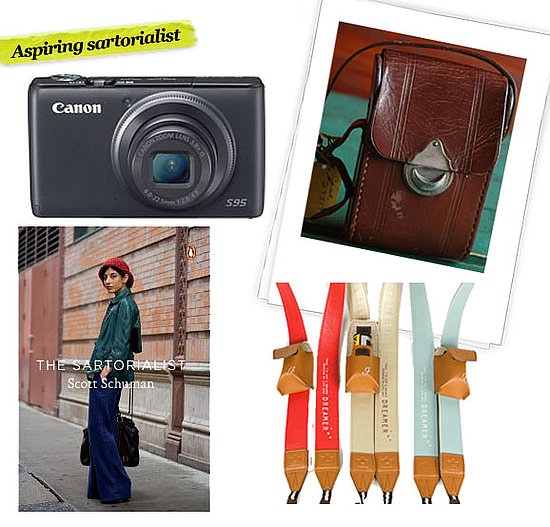 Canon S90 Digital Camera ($400), Vintage Leather Camera Case ($23), The Sartorialist by Scott Schuman ($17), Photojojo Tokyo Dreamer Camera Strap ($20)