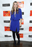 Molly Sims worked a cobalt draped dress and jewels from her own line.