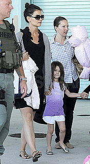 Pictures of Katie Holmes and Suri Cruise Leaving Their Boat Cruise and Chartering a Private Jet
