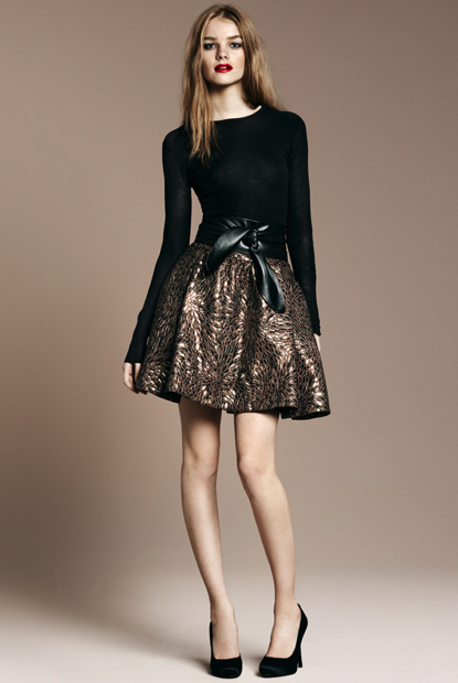 Black Knit Top, Brocade Skirt