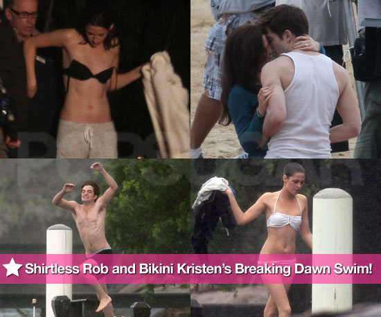 Pictures of Kristen Stewart Bikini, Robert Pattinson Shirtless Filming Breaking Dawn in Brazil