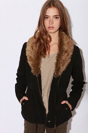 Faux fur to keep us warm, in style.  Ecote Shawl Collar Surplus Jacket ($49, originally $98)