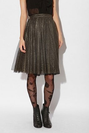 A ladylike length and silhouette, but for the holidays, we love this shimmery update.  Sparkle and Fade Lurex Skirt ($59)