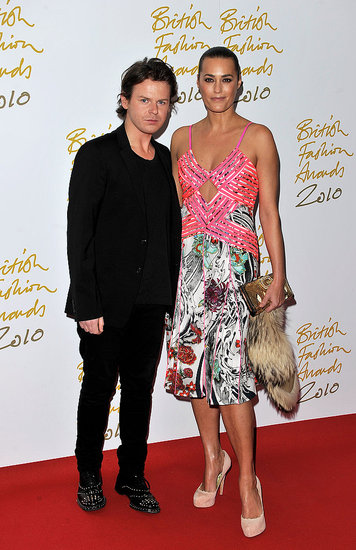Christopher Kane with Yasmin Le Bon in his design