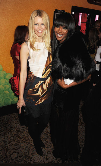 Claudia Schiffer in Mary Katrantzou, Naomi Campbell in Alexander McQueen