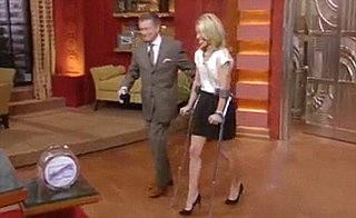 Kelly Ripa Injured on Crutches, Not Allowed to Exercise For Three to Six Weeks