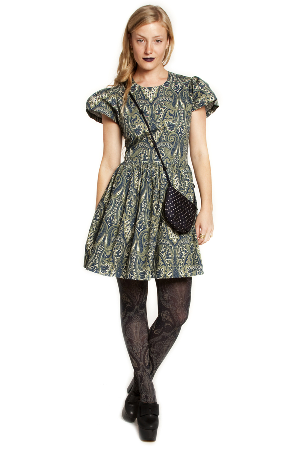 Sophie puff sleeve dress in paisley