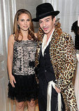 Inside the party: Natalie loses the coat, but Galliano keeps the leopard.