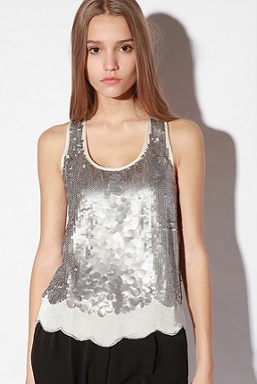 Sparkle & Fade Silver Sequin Tank Top ($59)