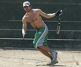 Jake shed his shirt and took off running during a friendly softball game in August 2005.
