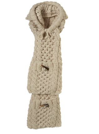 Topshop Cream Cable Hooded Scarf ($50)