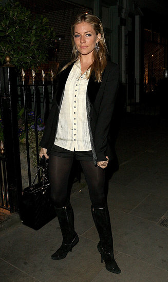 Sienna wore slick layers, boots, and tights for an event in 2009.