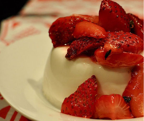 Strawberry Thyme Panna Cotta