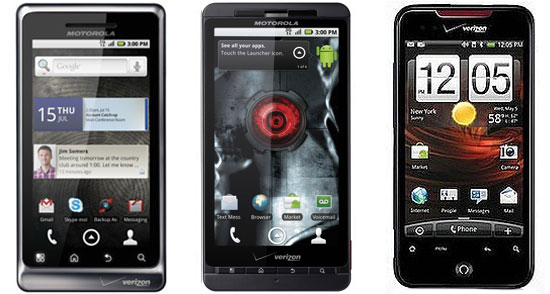 Droid 2 vs. Droid X vs. Droid Incredible