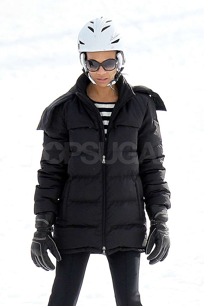 Zoe Saldana Gets a Sweet Ski Lesson From Her Fiancé