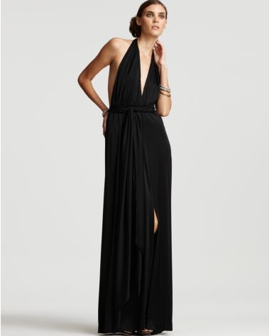 Halter necks are back — and so are longer and leaner silhouettes. We like how this sleek black maxi dress generously embraces both.  Halston Heritage Tie Waist Halter Dress ($455)