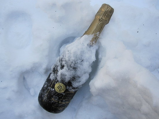 Chill the bubbly. This may seem like a no brainer, but there is nothing worse than a glass of lukewarm champagne! Place in an ice bucket with salt, in the fridge, or outside in the snow for 20 to 30 minutes.