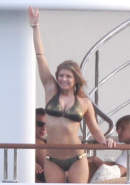 Fergie Breaks Out Her Gold Bikini to Watch Shirtless Josh Go For a Swim