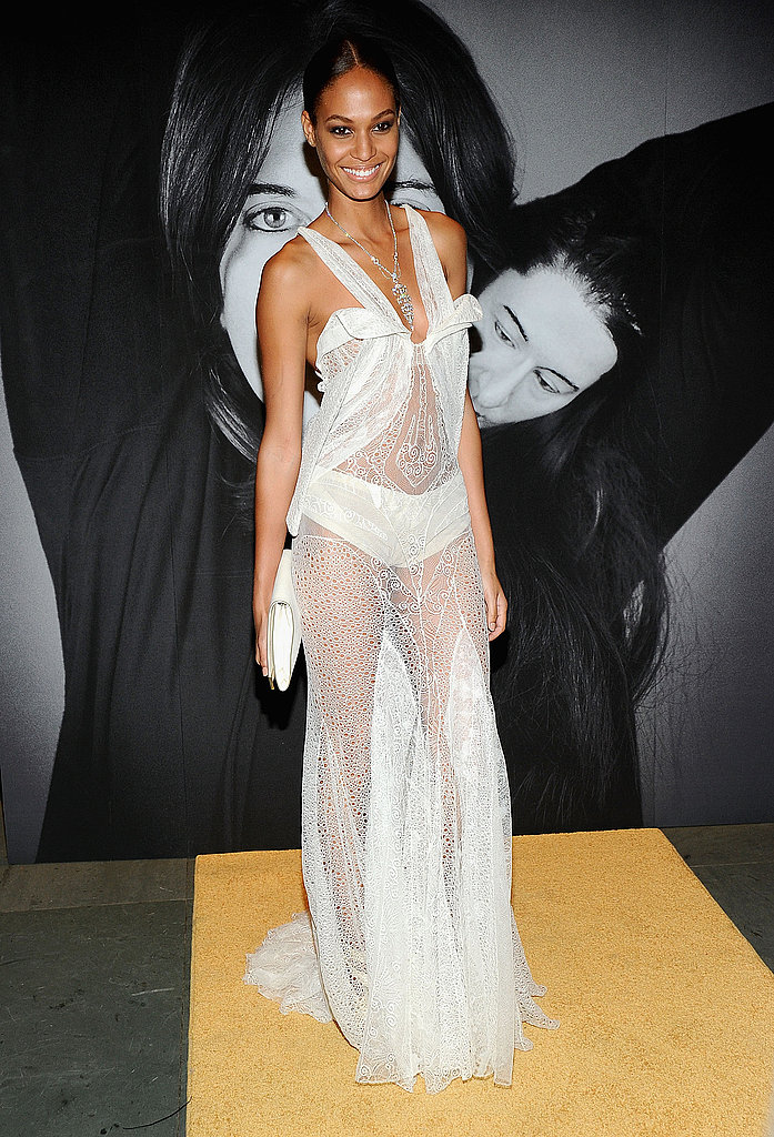 Wearing sheer on the yellow carpet.
