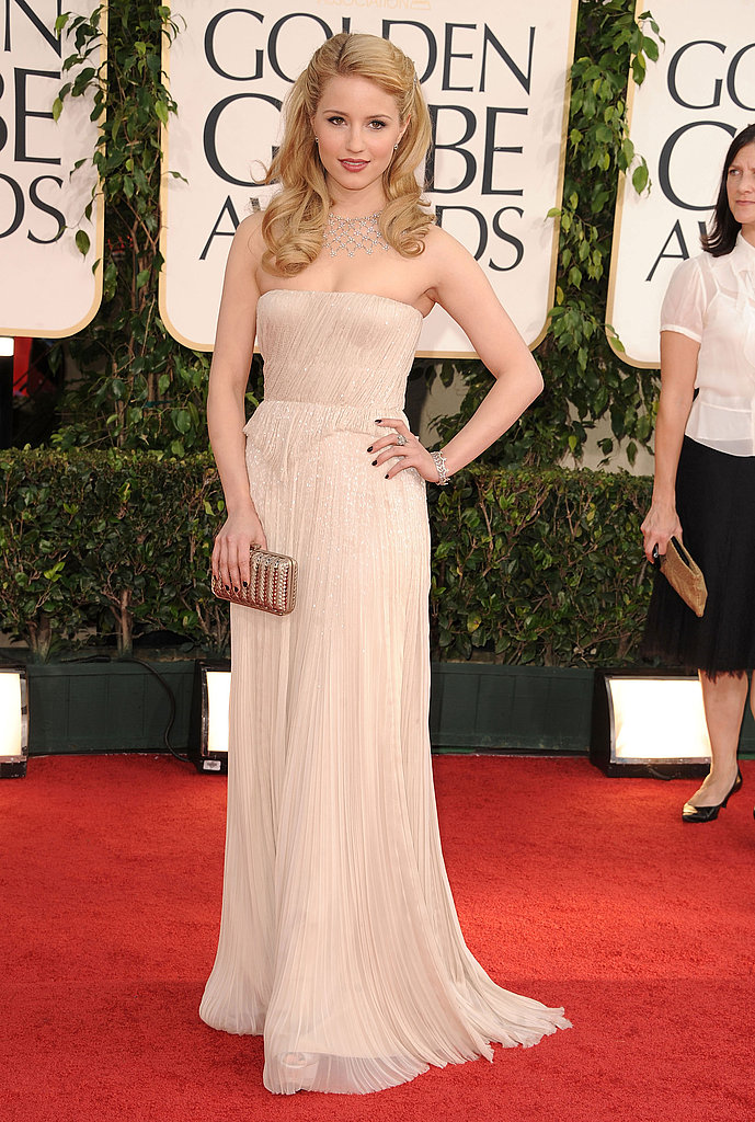 Dianna Agron's strapless J. Mendel gown hit on the color trend with a soft nude hue and subtle sparkle.