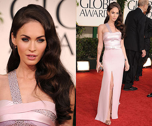 Megan Fox in pale pink Armani Prive at the 2011 Golden Globe Awards