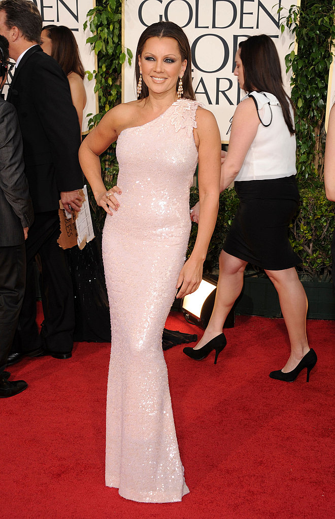 Vanessa Williams glowed in a nude one-shoulder Roberto Cavalli gown.