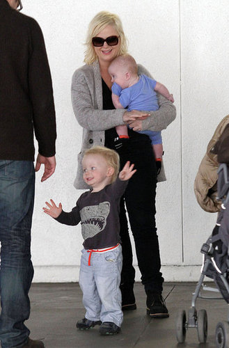 Pictures of Amy Poehler and Will Arnett With Their Sons Archie and Abel at LAX