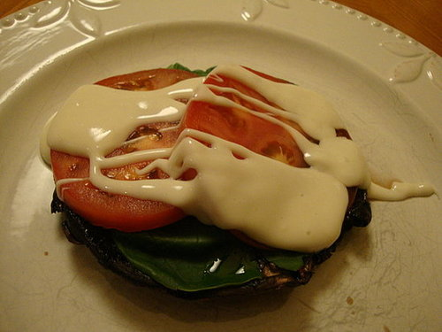 Portobellos with Tomatoes and Truffle Cheeze Sauce