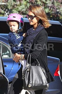 Pictures of Jessica Alba and Honor Riding Bikes and Trying on Helmets