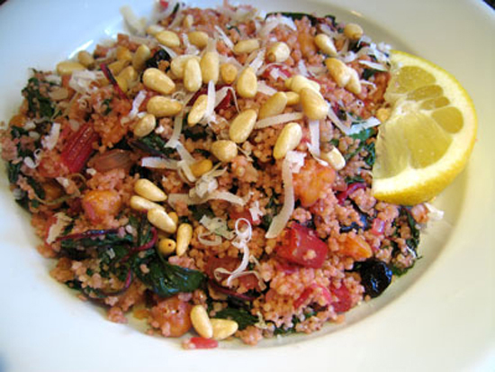 Couscous With Chard and Roasted Chickpeas