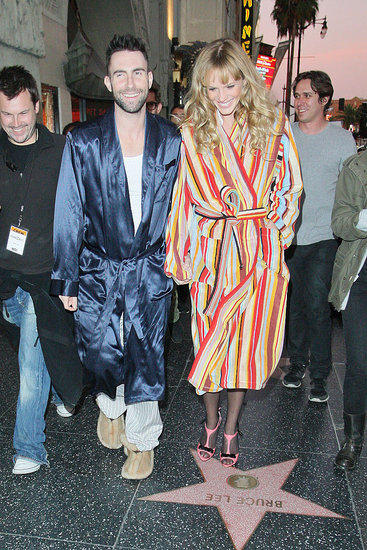 Adam and Anne walked Hollywood Boulevard in adorable robes.