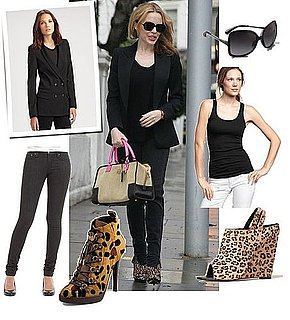 Kylie Minogue Wears Black and Leopard in London