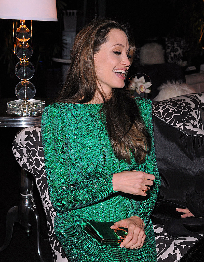 Angelina Jolie Has a Gorgeous, Green, Grinning Golden Globes