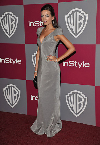 Camilla Belle worked a gorgeous gray Armani gown at the InStyle/Warner Bros. afterparty. Great mix of structured and flowy.