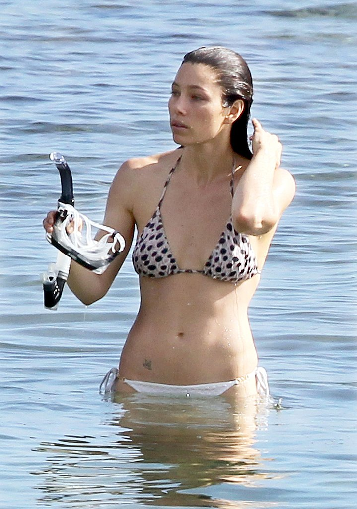 Jessica Biel Shows Off Her Hot Body in a Tiny White Bikini