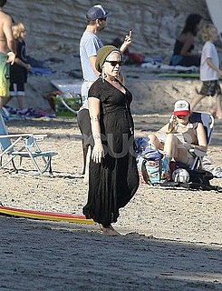 Pictures of Pregnant Pink on the Beach