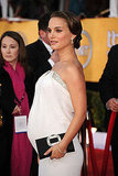 Natalie Portman Steps It Up With a Baby-Bump-Hugging White SAG Gown