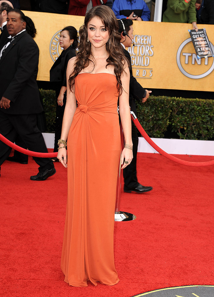 Sarah Hyland went for a strapless orange Max Mara gown.