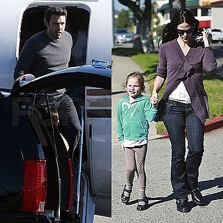 Pictures of Jennifer Garner and Violet Affleck Walking Together and Ben Affleck Leaving on a Private Jet