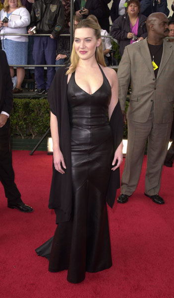 Kate Winslet suited up in a leather halter (that reminds me of an Angelina look) in 2001.